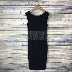 Bailey 44 Black Vegan leather trim dress M